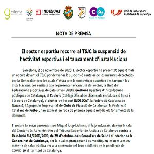 EL SECTOR ESPORTIU RECORRE LA SUSPENSIÓ DE L'ACTIVITAT FÍSICA